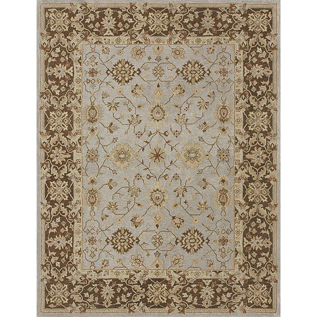 Hand-tufted Aara Blue/ Brown Wool Rug (3'6 x 5'6)