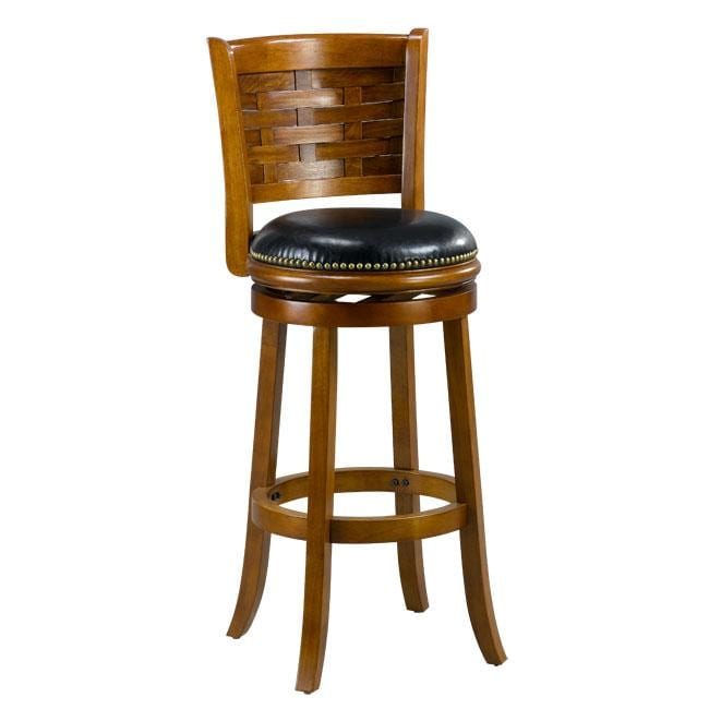 Brooklyn Dark Oak Woven Back Swivel Bar Stool Free