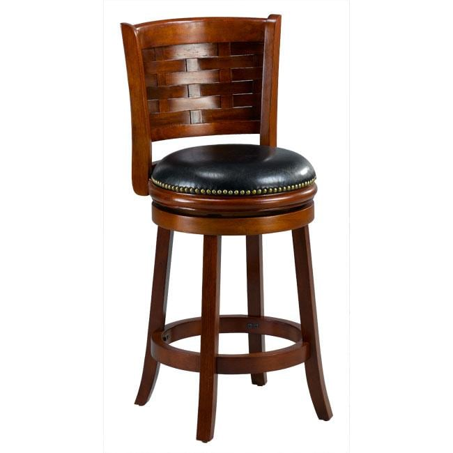 Brooklyn Cherry Woven Back Swivel Counter Stool