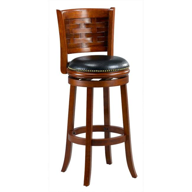 Brooklyn Cherry Woven Back Swivel Bar Stool Free