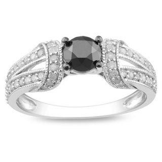 Miadora 10k White Gold 1ct TDW Black and White Diamond Ring (G-H, I3)