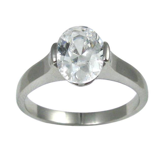 Stainless Steel Oval-cut Cubic Zirconia Solitaire Engagement-style Ring