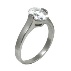 Stainless Steel Oval-cut Cubic Zirconia Solitaire Engagement-style Ring - Thumbnail 1