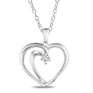 Miadora Sterling Silver Diamond Accent Heart Necklace