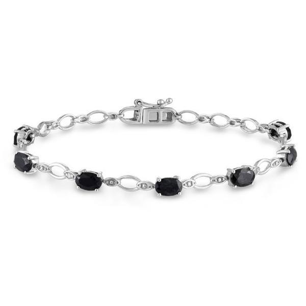 Miadora Sterling Silver Black Sapphire and Diamond Bracelet (H-I, I3)