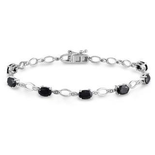 M by Miadora Sterling Silver Black Sapphire and Diamond Bracelet (H-I, I3)