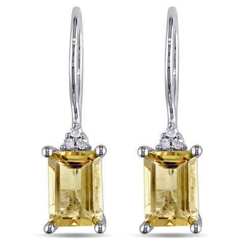 Miadora Sterling Silver Citrine and Diamond Earrings