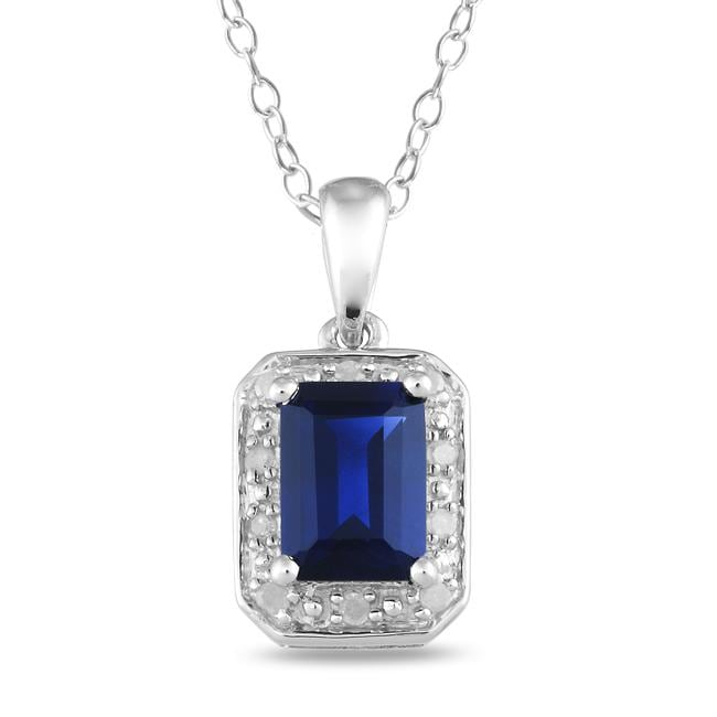 Miadora Sterling Silver Created Sapphire and Diamond Necklace