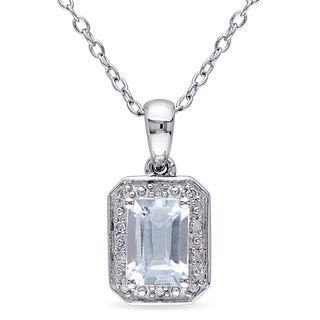 M by Miadora Sterling Silver Aquamarine and Diamond Accent Necklace
