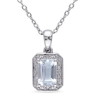 Miadora Sterling Silver Aquamarine and Diamond Accent Necklace