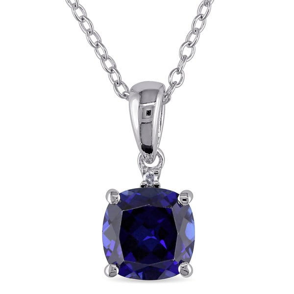 M by Miadora Sterling Silver Created Sapphire and Diamond Accent Necklace