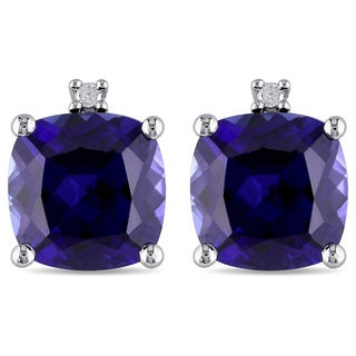 M by Miadora Sterling Silver Created Sapphire and Diamond-accented Earrings