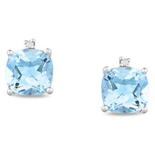 Miadora Sterling Silver Blue Topaz and Diamond-accented Earrings