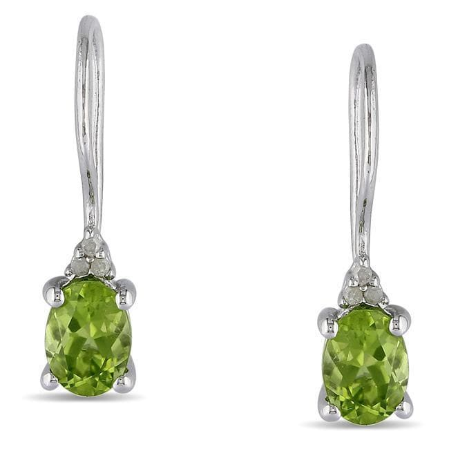 Sterling Silver Diamond And 1 5//8 CT TGW Peridot Euro Back Earrings I3