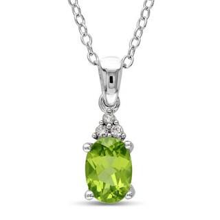Miadora Sterling Silver Peridot and Diamond-accented Fashion Necklace