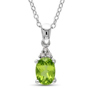 Miadora Sterling Silver Peridot and Diamond-accented Fashion Necklace