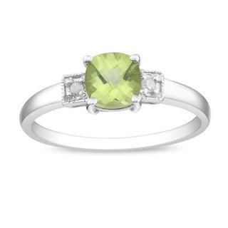 Miadora Sterling Silver Peridot and Diamond Fashion Ring