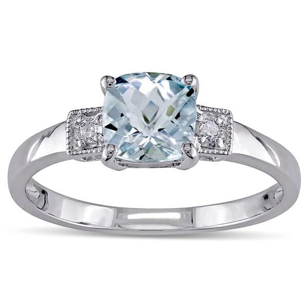 Miadora Sterling Silver Aquamarine and Diamond Fashion Ring
