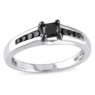 Miadora Sterling Silver 1/2ct TDW Princess-cut Black Diamond Ring