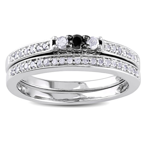 Miadora Sterling Silver 1/4ct TDW Black and White Diamond Ring Set