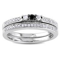 Miadora Sterling Silver 1/4ct TDW Black and White Diamond Ring Set