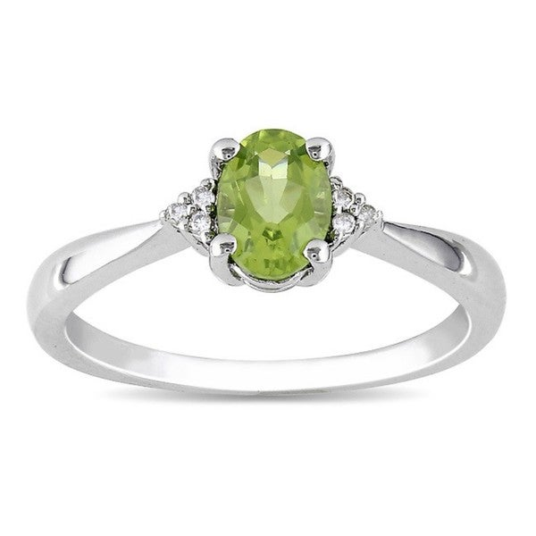 Miadora Sterling Silver Oval Peridot and Diamond-accented Ring. Opens flyout.