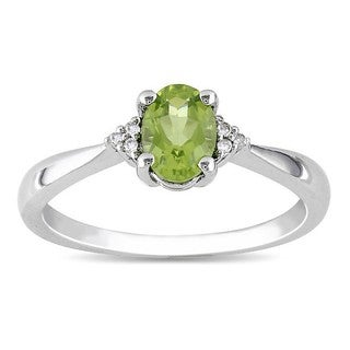 Miadora Sterling Silver Oval Peridot and Diamond-accented Ring