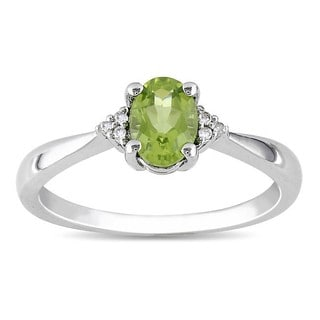M by Miadora Sterling Silver Oval Peridot and Diamond-accented Ring