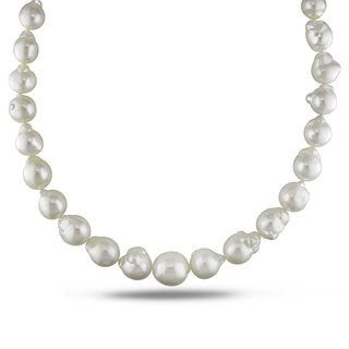 Miadora Signature Collection White South Sea Pearl and Diamond 18-inch Necklace (10-16.5 mm)