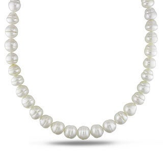 Miadora Signature Collection White South Sea Pearl and Diamond 18-inch Necklace (11-13 mm)