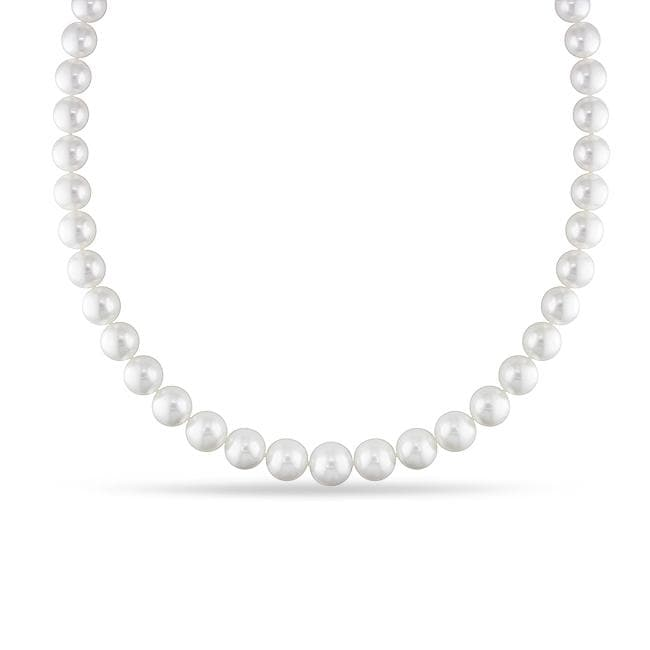 Miadora White South Sea Pearl and Diamond 18-inch Necklace (10-13 mm) - Thumbnail 0