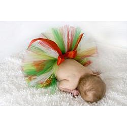 My Princess Tutus 'Christmas Kisses' Red, White and Green Tulle Baby-size Tutu