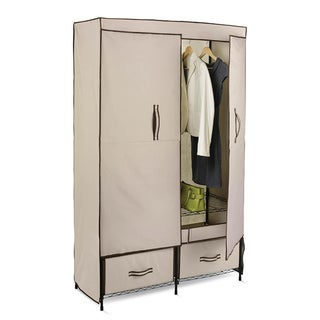 Honey-Can-Do WRD-01274 43-inch Double Door Wardrobe with 2 Drawers