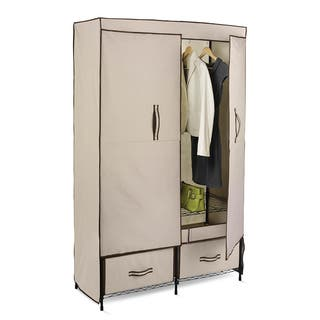 Honey-Can-Do WRD-01274 43-inch Double Door Wardrobe with 2 Drawers|https://ak1.ostkcdn.com/images/products/5581058/P13348009.jpg?impolicy=medium