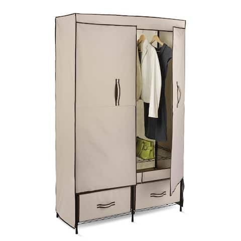 Honey-Can-Do WRD-01274 43-inch Double Door Wardrobe with 2 Drawers - Multi