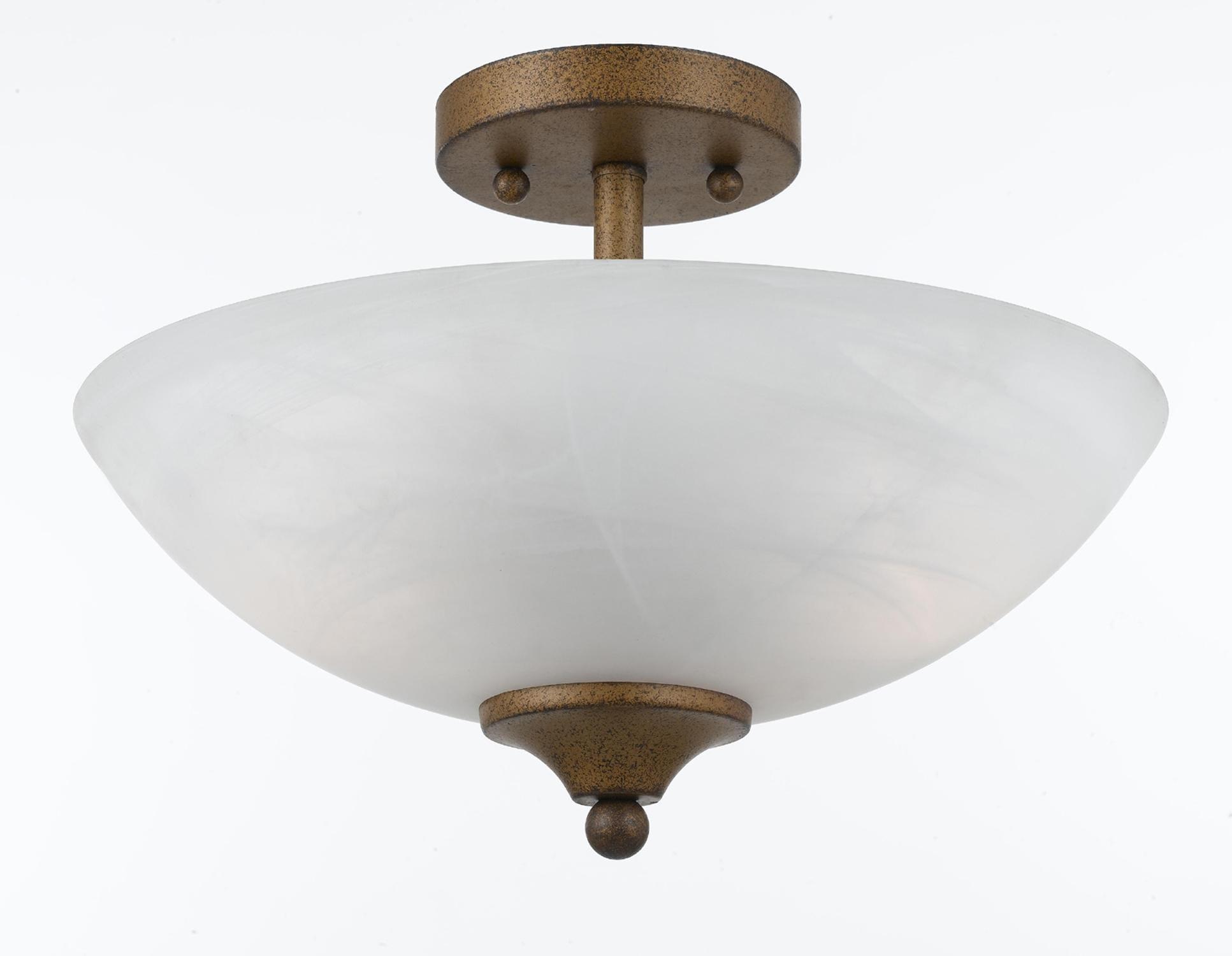 2-light Gold Finish Semi-flush Fixture