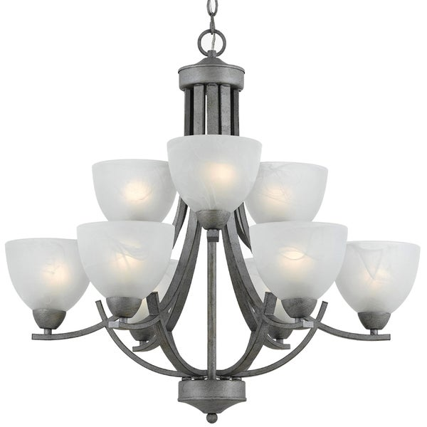 9-light Silver Finish Chandelier