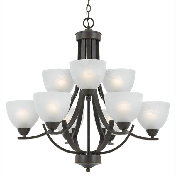9-light Rust Finish Chandelier