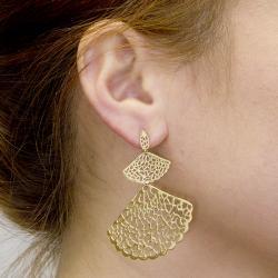 Adee Waiss 18k Goldplated Sterling Silver Graduated Fan Earrings - Thumbnail 2