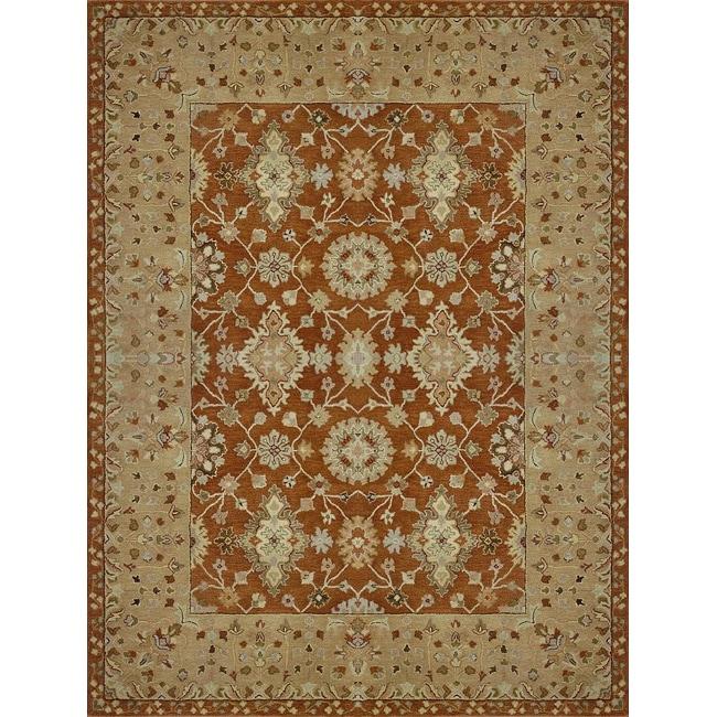 Hand-tufted Aara Orange Wool Rug (3'6 x 5'6)