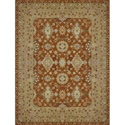 Hand-tufted Aara Orange Wool Rug (5' x 7'6)