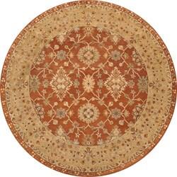 Hand-tufted Aara Orange Wool Rug (8' Round)