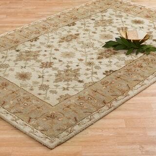Hand-tufted Aara Ivory/ Sage Wool Rug (5'0 x 7'6)