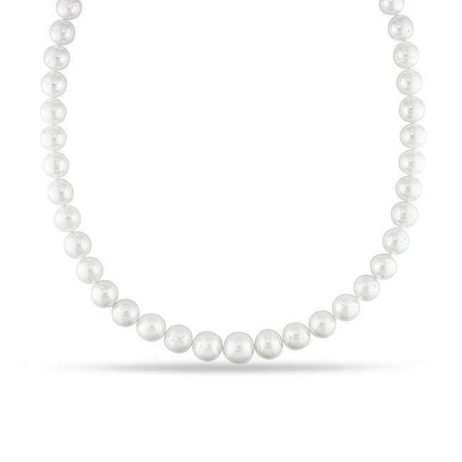 Miadora White South Sea Pearl and Diamond Necklace (9-12 mm)