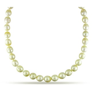Miadora Signature Collection 14k Gold Champagne South Sea Pearl and Diamond Necklace (10-12.5 mm)