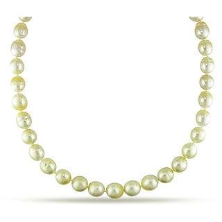 Miadora Signature Collection 14k Gold Champagne South Sea Pearl and Diamond Necklace (10-12.5 mm)