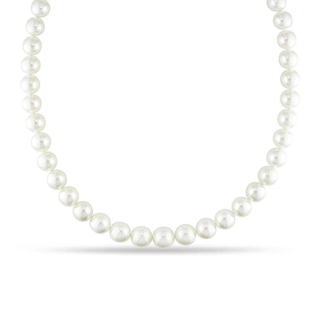 Miadora 14k Gold White South Sea Pearl and Diamond Necklace (10-13 mm)