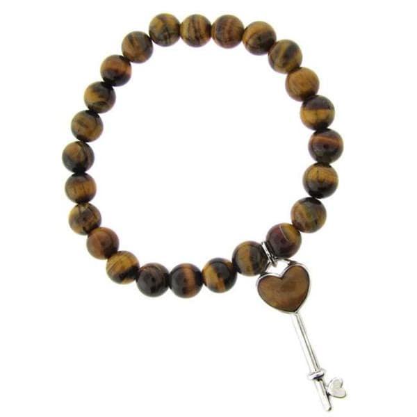 Dolce Giavonna Sterling Silver Tigers Eye Heart Key Charm Stretch Bracelet