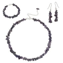 Glitzy Rocks Sterling Silver Amethyst Chip Set