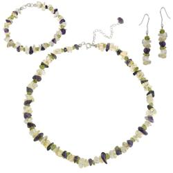 Glitzy Rocks Sterling Silver Mulit-gemstone Chip Jewelry Set